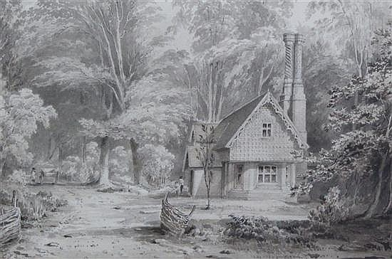 George Frederick Prosser (1805-1882) 'Gamekeepers Lodge of Sir Wm Heathcote at Thursby, Hants', 5.75 x 8.5in.