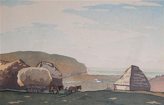 Eric Slater (1896-?) The Stackyard, 6.5 x 9.5in.