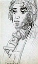 Vanessa Bell (1879-1961) 'Singer at Cafe Eden, Barcelona, 1923', 5.75 x 3.5in.