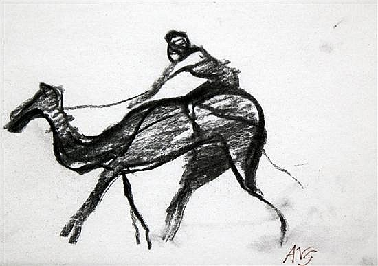 Angelica Garnett (1918-) Camel and rider, 4.75 x 6.75in.