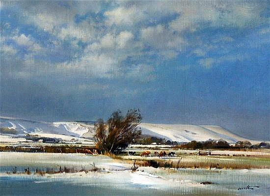 Frank Wootton (1911-1998) 'Firle Beacon in Snow, Easter 1975', 16 x 21in.