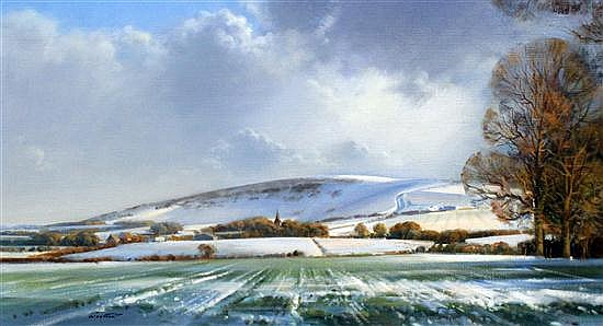 Frank Wootton (1911-1998) 'Windover Hill in snow', 17 x 30in.