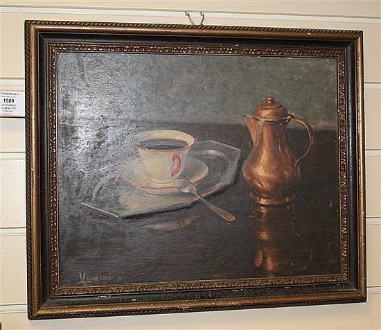 Leonardo Cominotto (1898-1966) Still life of a coffee cup and copper pot, 12 x 15in.
