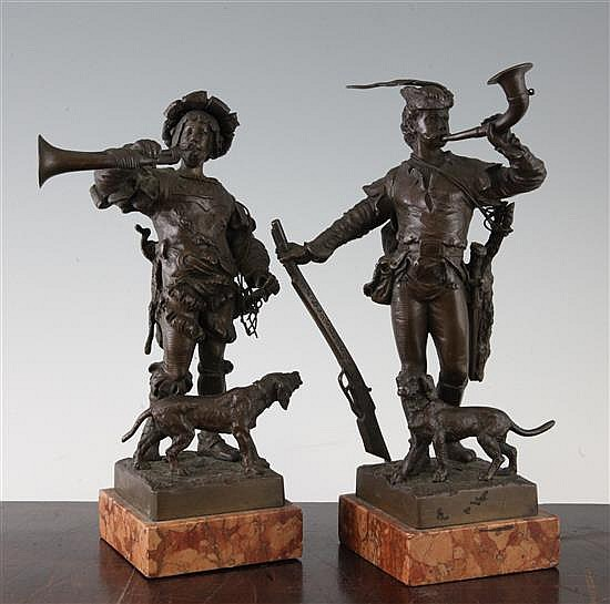 Eugene Barillot (French, 1841-1900). A pair of patinated bronze figures renaissance hunters, largest 10in.