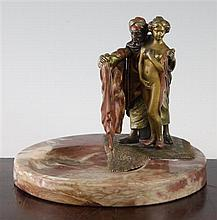 Franz Bergmann (1838-1894). An Austrian cold painted bronze mounted marble ashtray, 5.5in.