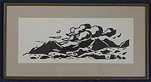 Kyffin Williams (1918-) Welsh landscape, 17.5in. x 6.75in.