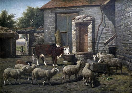 Guillaume Wilhelm Wintz (1823-1899) Sheep and cattle in a farmyard 29 x 39.5in.