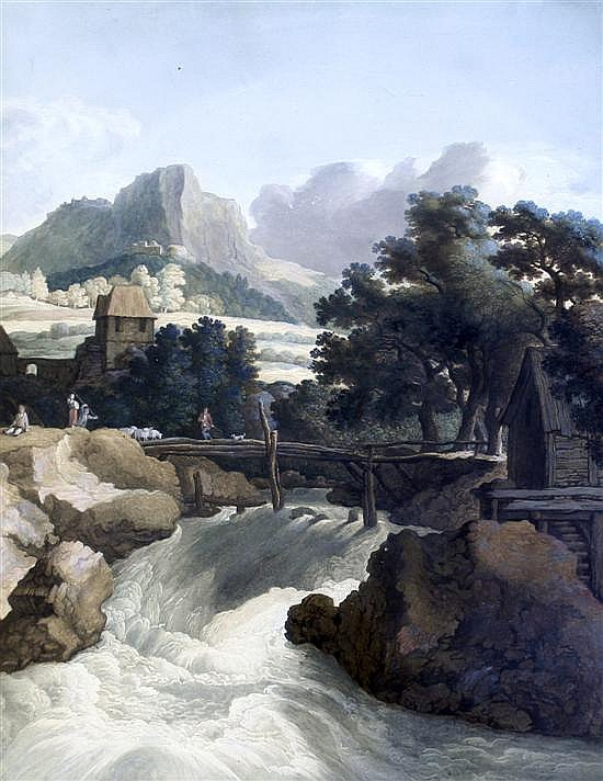 Johan Gottlieb Prestel (German, 1739-1808) Waterfall in a landscape 24 x 19.5in.