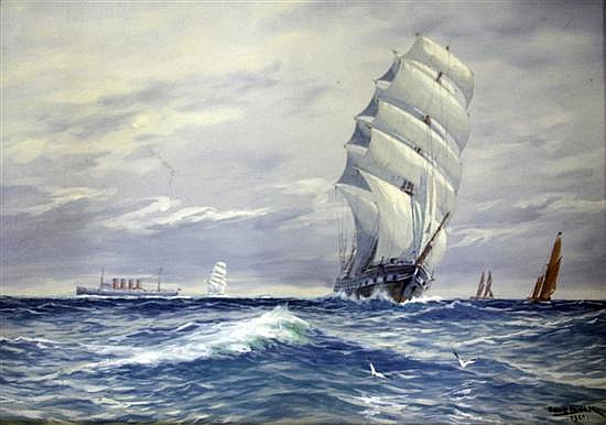 Adolf Bock (Finnish, 1890-1968)  Clipper and liner at sea 14.5 x 21.5in.