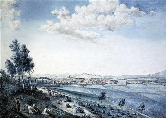 Johann Carl Auguste Richter (1785-1853) Figures on a hillside sketching a town 12.5 x 19in.