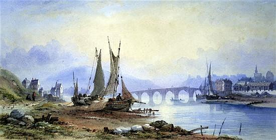 W. Charles (Exh. 1870-71) On The Moselle 8.5 x 17.5in.