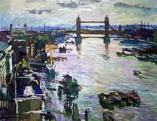 Walter Langhammer (Austrian, 1905-1977) The Thames with Tower Bridge 23 x 31in.