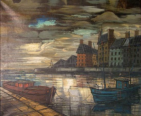 Antal Biro (1907-) French Harbour scene 20 x 24in.