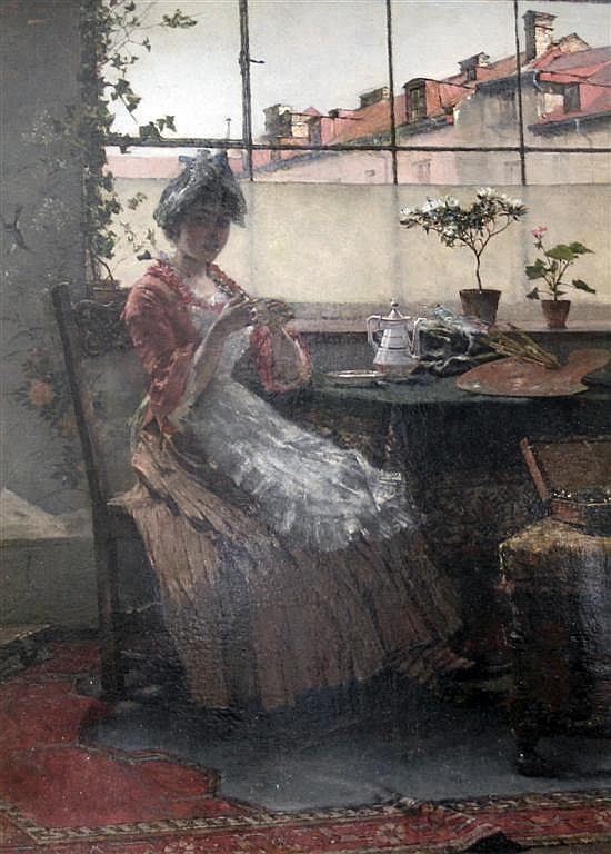 Max Hammerl (German, 1856-1886) Interior with lady at a tea table, 15 x 11in.