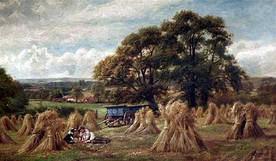 Alfred Banner (fl.1878-1914) Warwickshire Oats with youth and dog resting 17 x 29.5in.
