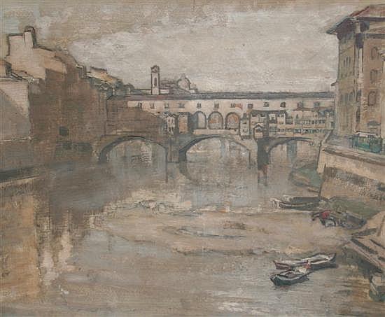 Vera Waddington (1886-) Ponte Vecchio, 10.5 x 13.75in.