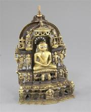 An Indian bronze and silver inlaid Jain shrine, dated 1471, height 21.5cm