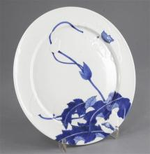 A fine Japanese blue and white 'month' plate, c.1890, by Seifu Yohei III (1851-1914), 21cm