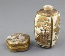 A Japanese Satsuma pottery vase and a pentafoil shaped box and cover, early 20th century, 12.5cm and 7cm