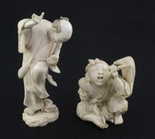 Two Japanese ivory okimono, Meiji period, 12.5cm, both with losses