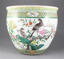 A large Chinese famille rose jardiniere, late 19th century, height 35cm diameter 42cm