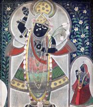 Indian School Krishna with attendant 8.75 x 7.75in.
