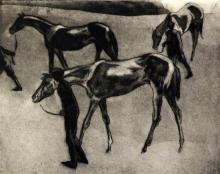 John Copley (1875-1950) Horses after a Race 8.75 x 11in.