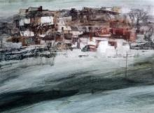 Frederick Donald Blake (1908-1997) Hillside town 13 x 18in.
