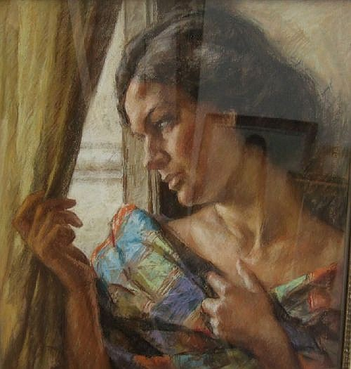 Luigi Amato (1898-1961) - pastel, portrait of a woman at a window