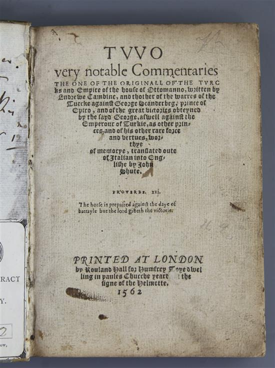 Cambini, Andrea - Two Very Notable Commentaries, rebound cloth bounds, quarto, facsimile p.21,