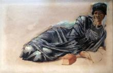 Sir Edward Coley Burne-Jones (1833-1898) Sketch of Lady Burne-Jones reclining beside a book 23.5 x 35.5in.