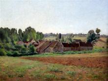 § Jean Eugène Julien Massé (1856-1950) Vue du Villages 18.5 x 24.5in.