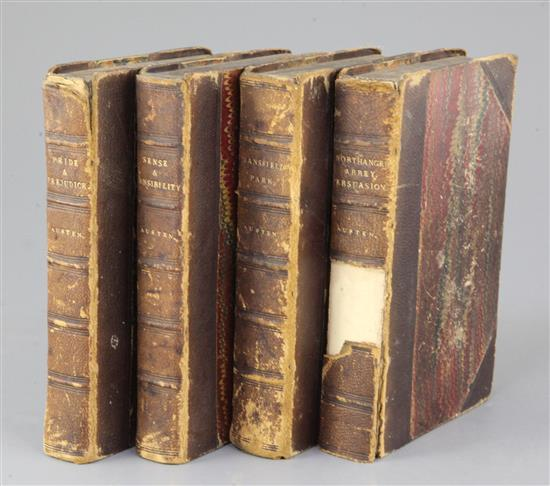 AUSTEN, Jane, Novels by Miss Jane Austen, Richard Bentley, 1833 in three volumes, and one vol. 1837 foxing, chips and one loss to spine
