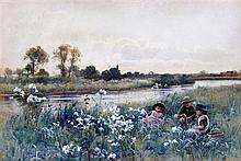 Hector Caffieri (1847-1932) Children beside a river, 10 x 15in.