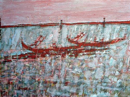 Brian Robb (1913-1979) Gondolas, Venice, 20 x 26in.
