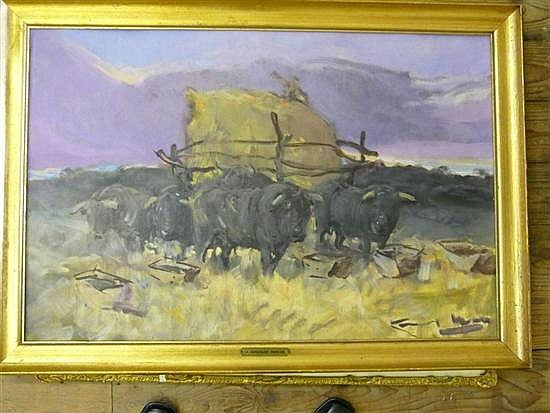 Angel Gonzalez Marcos (1900-1977) Spanish Bullock cart, 21 x 32in.