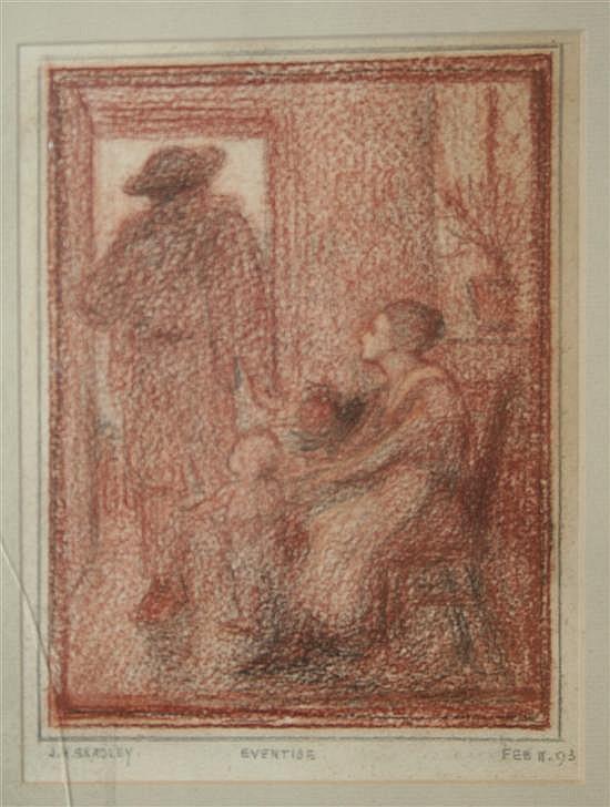 John Henry Bradley (1832-?) 'Eventide' 7.5 x 5.5in.
