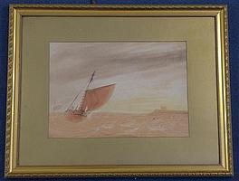 Jean Le Capelain (1814-1848) Fishing boat in a fresh breeze, 10.5 x 15in.