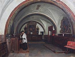 John Bagnold Burgess (1830-1897) Sacristy of Salamanca cathedral, 20 x 28in.