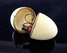 A French ivory egg shaped etui,