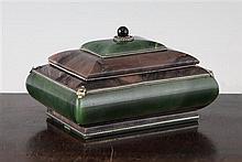 A Russian green nephrite and jasper box, 5.5in.