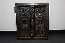 Two 17th century carved oak panels, 21.75in.