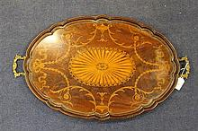 A 19th century mahogany and satinwood marquetry inlaid two handled tray, 29in.