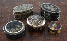 A collection of five Continental tortoiseshell and pique work snuff boxes, largest 3.25in.