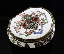 An 18th/19th century Continental cartouche shaped silver mounted enamel snuff box, 3.25in.