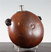 A 19th century European Scrimshaw gourd flask, 8in.
