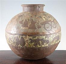 An Indian engraved and polychrome decorated ovoid vase, 13in.