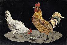 A late 19th century Italian pietra dura panel, overall 10.5in.