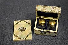 A 19th century rectangular mother of pearl and abalone travelling scent bottle case, 3.375in.