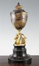 A 19th century Blue John urn shape lamp, 15in.